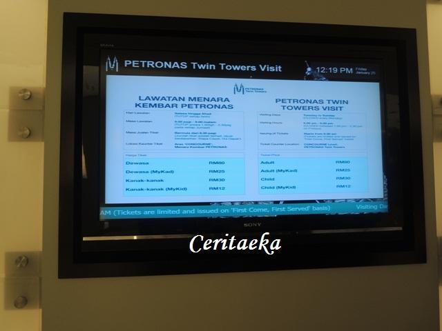 Daftar harga tiket untuk naik ke Menara Petronas