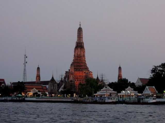 One wonderful view from the Ferry. Wat Arun on the distance.