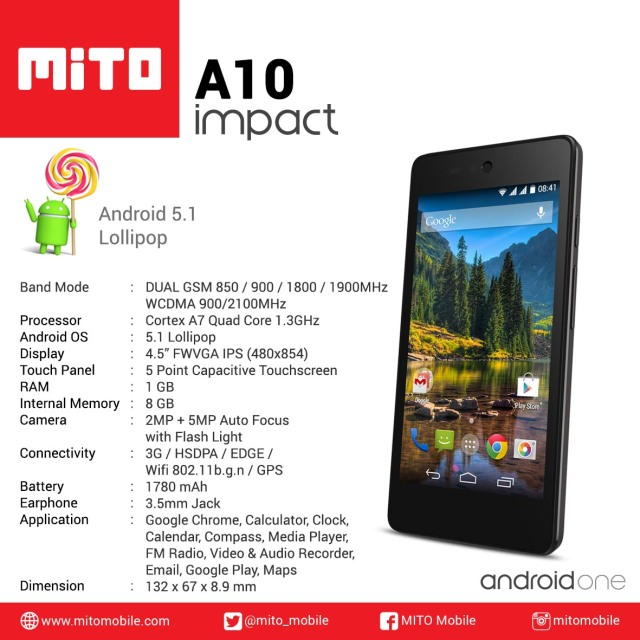 MITO IMPACT Android One - Spec