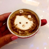 My first Latte Art. Hello Kitty bengep :P Hehehe