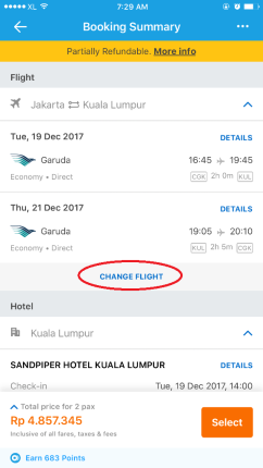 Cara ganti pesawat di Fitur packages Traveloka booking flight and hotel